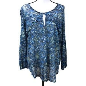 Lucky Brand Blue Floral Ruffle Top ¾ Sleeves Sz L